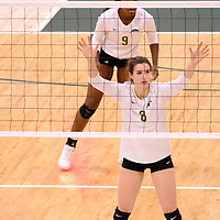 4th year middle blocker Kathleen Ens (8) of the Regina Cougars in action during the Women's Volleyball Home Game on November 17 at University of Regina. Credit Matt Johnson/©Arthur Images 2017