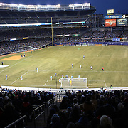 Ike Opara, Sporting KC heads what proved to be the winning goal in his sides 1-0 win during the New York City FC Vs Sporting Kansas City, MSL regular season football match at Yankee Stadium, The Bronx, New York,  USA. 27th March 2015. Photo Tim Clayton