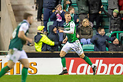 Florian Kamberi (#22) of Hibernian FC runs away to celebrate after scoring the equalising goal during the Ladbrokes Scottish Premiership match between Hibernian and Rangers at Easter Road, Edinburgh, Scotland on 8 March 2019.