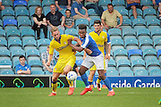 Peterborough no 9 Shaquille Coulthirst competes for the ball in the  Friendly match between Peterborough United and Leeds United at London Road, Peterborough, England on 23 July 2016. Photo by Nigel Cole.