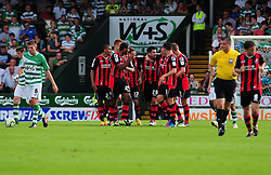 AFC Bournemouth celebrate Bournemouth's Richard Hughes goal from a free kick - Photo mandatory by-line: Dougie Allward/Josephmeredith.com  - Tel: Mobile:07966 386802 08/09/2012 - SPORT - FOOTBALL - League 1 -  Yeovil  - Huish Park -  Yeovil Town v AFC Bournemouth