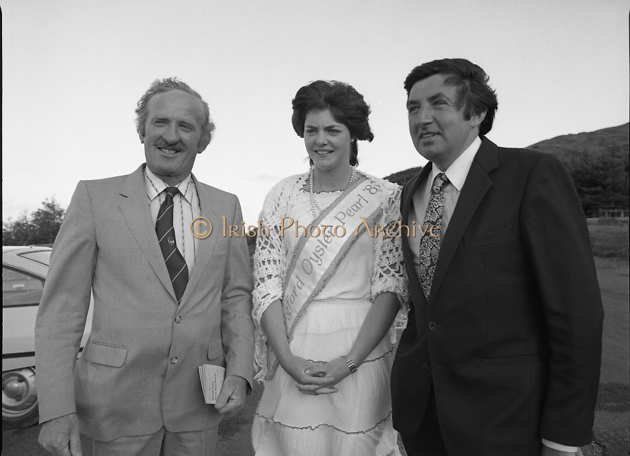 "The Carlingford Oyster Festival.1982.19.08.1982..08.19.1982.19th August 1982..Pictures and Images of the Carlingford Oyster Festival.. .The Minister For Fisheries and Forestry Mr Brendan Daly officially opened  The Carlingford Oyster Festival. The Chairman of the organising committee was Mr. Joe McKevitt..""The Oyster Pearl"" was Ms Deirdre McGrath."