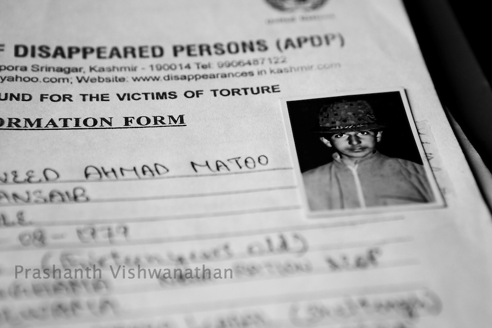 A file of a thirteen year old missing child taken away for intterogation September 2011, Kashmir, India. Photographer: Prashanth Vishwanathan