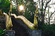 Mt Phousi Dragon Stairs.  Mt Phousi is a hill right at the centre of the old town of Luang Prabang. Visitors climb the mountain on a long staircase that zigzags up the hill until you reach the summit with its own temple and views of Luang Prabang, Mekong and Nam Khan rivers below.