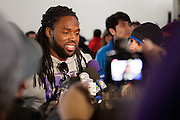 Baltimore Ravens wide receiver Torrey Smith  addresses the media following the teams Super Bowl XLVII Celebration at M&T Bank Stadium on Tuesday, February 5, 2013 in Baltimore, MD.