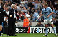 Photo: Paul Thomas.<br />Manchester City v Derby County. The FA Barclays Premiership. 15/08/2007.<br /><br />Sven Goran Eriksson (L), manager of City, talks tactis to his captain Richard Dunne during the game.