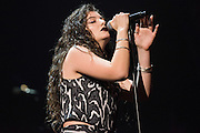 Lorde performing at the iHeartRadio Music Festival in Las Vegas, Nevada on Sepembter 20, 2014.