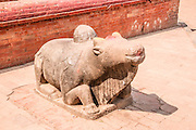 Bhaktapur, Nepal. Statue of a cow