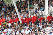 Fans dressed as cardinals in the Hollies stand during the International Test Match 2019 match between England and Australia at Edgbaston, Birmingham, United Kingdom on 3 August 2019.