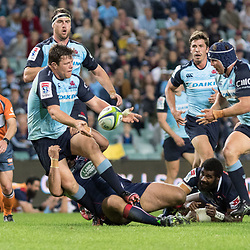 Paddy Ryan of the Waratahs passes to team mate Damien Fitzpatrick during the super rugby match between Waratahs and the Rebels Allianz Stadium 21 May 2017(Photo by Mario Facchini -Steve Haag Sports)