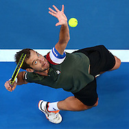 PERTH, AUSTRALIA - JANUARY 07:  Richard Gasquet of France serves to Jack Sock of the United States in the men's singles match during the 2017 Hopman Cup Final at Perth Arena on January 7, 2017 in Perth, Australia.  (Photo by Paul Kane/Getty Images)