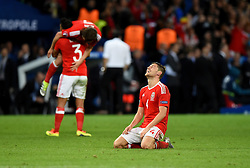 Ben Davies of Wales reacts to Wales win on the final whistle  - Mandatory by-line: Joe Meredith/JMP - 01/07/2016 - FOOTBALL - Stade Pierre Mauroy - Lille, France - Wales v Belgium - UEFA European Championship quarter final