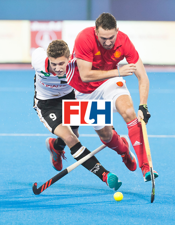 BHUBANESWAR - The Odisha Men's Hockey World League Final . Match ID 01 . Germany v England (2-0). David Condon (Eng) with Johannes Grosse (Ger)  .WORLDSPORTPICS COPYRIGHT  KOEN SUYK