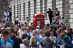 Image ©Licensed to i-Images Picture Agency. 07/07/2014. London, United Kingdom. Tour de France in Central London. Crowds gather at the Houses of Parliament area for Stage three of the Tour de France, London. Parliament Square. Picture by Daniel Leal-Olivas / i-Images