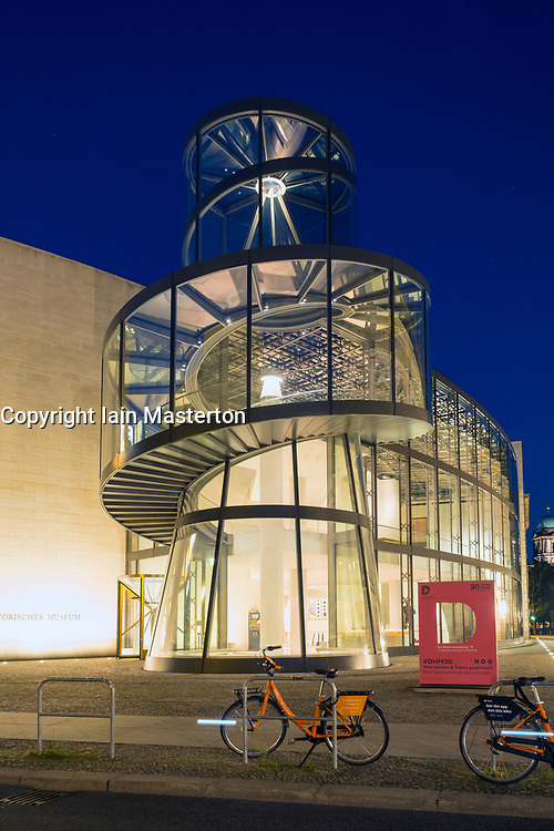 Night view of IM Pei's modern extension to the German History Museum ( Deutsches Historisches Museum) in Berlin, Germany
