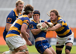 Otago's Teihorangi Walden, centre, takes the ball into the tackle against Bay of Plenty in the Mitre 10 Cup rugby match, Forsyth Barr Stadium, Dunedin, New Zealand, Oct. 7 2017.  Credit:SNPA / Adam Binns ** NO ARCHIVING**