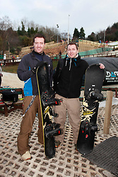 No fee for Repro: .Brendan Kealy and Greg Wixted pictured during World Snow Day at the Ski Club of Ireland in Kilternan who hosted a festival day of snowsports activities. Pic Andres Poveda.