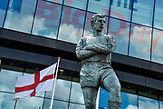 The Bobby Moore statue outside Wembley stadium during the Vanarama National League Play Off Final match between Tranmere Rovers and Forest Green Rovers at Wembley Stadium, London, England on 14 May 2017. Photo by Adam Rivers.