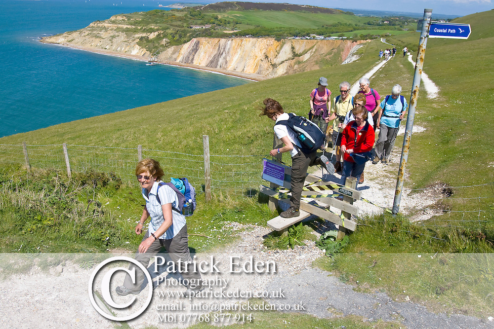 Walkers, Ramblers, Alum Bay, Needles, Isle of Wight, England, UK, Photographs of the Isle of Wight by photographer Patrick Eden photography photograph canvas canvases
