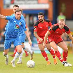 TELFORD COPYRIGHT MIKE SHERIDAN 16/2/2019 - Sam Walker of Stockport and Jon Royle of AFC Telford during the Vanarama Conference North fixture between Stockport County and AFC Telford United at Edgeley Park