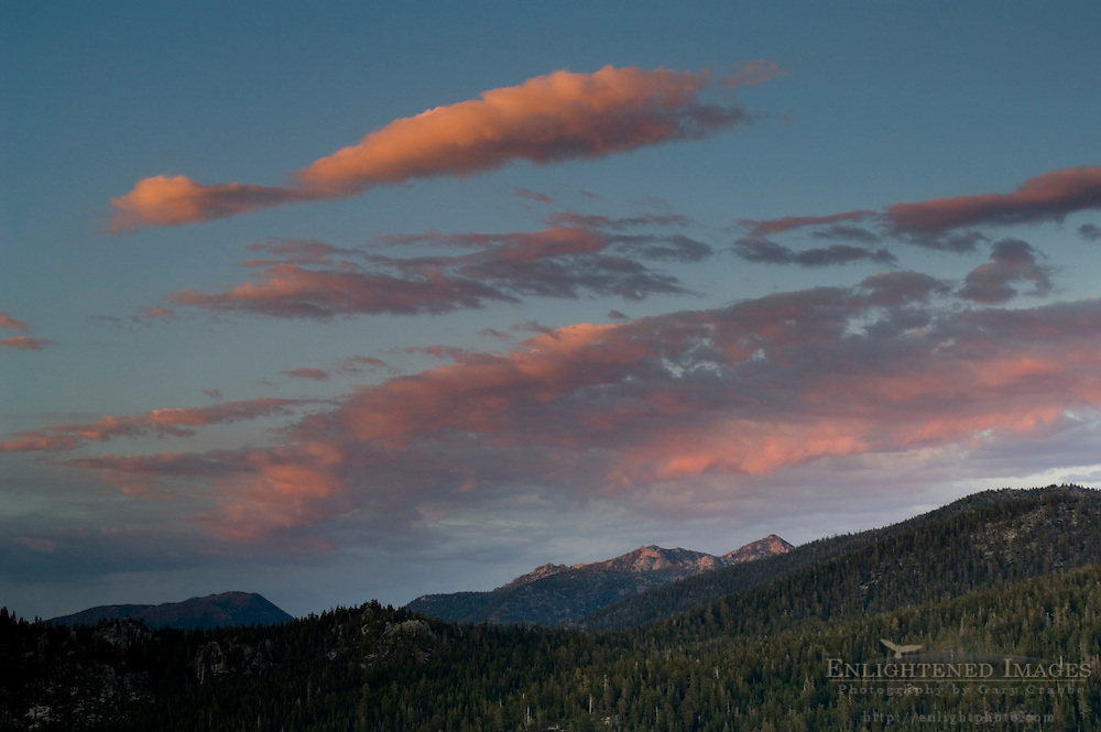 Red clouds and mountains at sunset, from Echo Summit, near Lake Tahoe, California