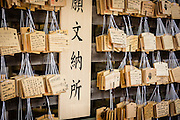 Ema are votive tablets for special, personal prayers and gratitude toward the deities of a special shrine. they are foud throughout Japan, in various religious sites, often near sacred spots like trees.