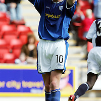 St Johnstone v Raith Rovers...28.08.04<br />Ryan Stevenson reacts after missing a free header on goal<br /><br />Picture by Graeme Hart.<br />Copyright Perthshire Picture Agency<br />Tel: 01738 623350  Mobile: 07990 594431