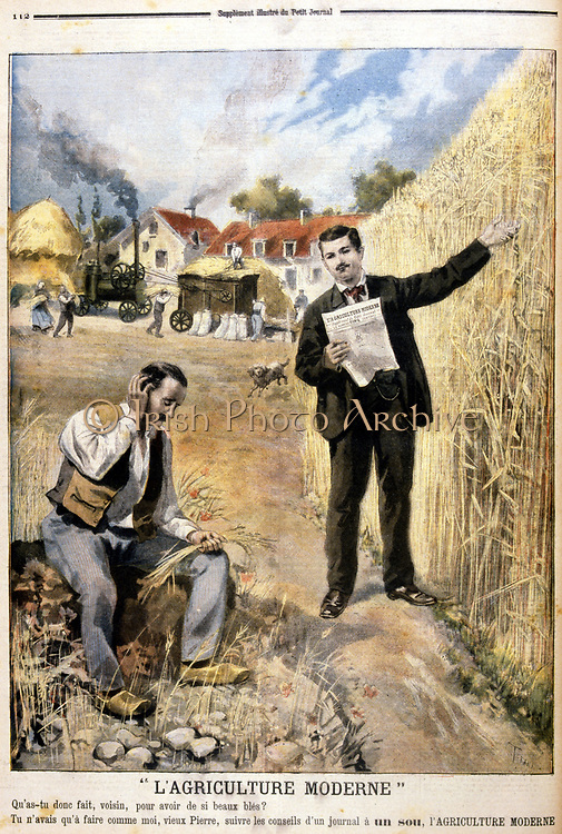 Advertisement for an agricultural magazine 'Agriculture Moderne'.  In the background the harvest is being threshed in a steam-powered threshing machine. From 'Le Petit Journal',  Paris, 4th April 1897.