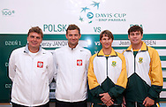 (L-R) Marcin Matkowski & Mariusz Fyrstenberg both from Poland & Rik de Voest & Ruan Roelofse both from South Africa while official draw one day before the BNP Paribas Davis Cup 2013 between Poland and South Africa at MOSiR Hall in Zielona Gora on April 04, 2013...Poland, Zielona Gora, April 04, 2013..Picture also available in RAW (NEF) or TIFF format on special request...For editorial use only. Any commercial or promotional use requires permission...Photo by © Adam Nurkiewicz / Mediasport