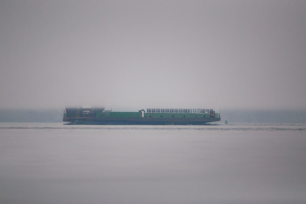 Ferry Boat Obscured by Rising Fog, San Juan Islands, Washington, US