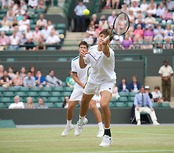 LONDON, ENGLAND - Sunday, July 3, 2011: Jiri Vesely (CZE) in action during the Boys' Doubles Final match on day thirteen of the Wimbledon Lawn Tennis Championships at the All England Lawn Tennis and Croquet Club. (Pic by David Rawcliffe/Propaganda)