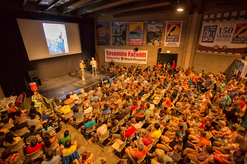 "Tommy Caldwell giving a presentation on the Dawn Wall ascent during the annual ""Face Lift"" Clean Up event in Yosemite National Park"