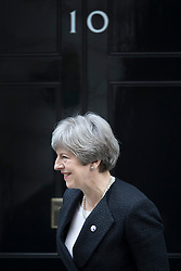© Licensed to London News Pictures. 30/01/2018. London, UK. Prime Minister Theresa May smiles as Estonian Prime Minister Jüri Ratas leaves Downing Street. Later Mrs May will travel to China on a three day trade and diplomatic visit.  Photo credit: Peter Macdiarmid/LNP