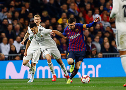 March 2, 2019 - Madrid, Spain - Real Madrid CF's Sergio Reguilón and FC Barcelona's Lionel Messi during La Liga match between Real Madrid and FC  Barcelona at Santiago Bernabéu in Madrid..Final Score: Real Madrid 0 - 1 FC Barcelona (Credit Image: © Manu Reino/SOPA Images via ZUMA Wire)