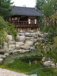 Detail at Korean garden at Garten der Welt or Gardens of the World park in Marzahn in Berlin Germany