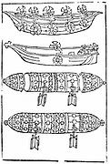 Various forms of paddle boats for use in war. The bottom 2 are submarines.  From Valturio 'De re militari', 1483. Woodcut
