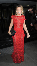 Kimberley Walsh wearing a red laced dress, leaving the Grosvenor House Hotel after attending the Music Industry Trust Awards charity dinner. London.UK. 05/11/2012  <br />BYLINE MUST READ : GOTCHAIMAGES.COM<br /><br />Copyright by © Gotcha Images Ltd. All rights reserved.<br />Usage of this image is conditional upon the acceptance <br />of Gotcha Images Ltd, terms and conditions available at<br />www.gotchaimages.com