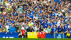 LIVERPOOL, ENGLAND - Sunday, September 20, 2009: Everton's supporters abuse former Liverpool player Blackburn Rovers' El-Hadji Diouf during the Premiership match at Goodison Park. (Pic by David Rawcliffe/Propaganda)