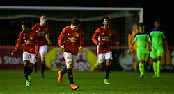 ALTRINGHAM, ENGLAND - Friday, March 10, 2017: Manchester United's Aidan Barlow celebrates scoring the first equalising goal against Liverpool during an Under-18 FA Premier League Merit Group A match at Moss Lane. (Pic by David Rawcliffe/Propaganda)