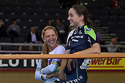 Laura Kenny (nee. Trott) of Great Britain and Matrix Fitness RT with  team mate  Elinor Barker of Great Britain and  Matrix Fitness RT during the Revolution Champions League Final 2016 at  at the Lee Valley Velo Park, QE Olympic Park, United Kingdom on 2 December 2016. Photo by Martin Cole.