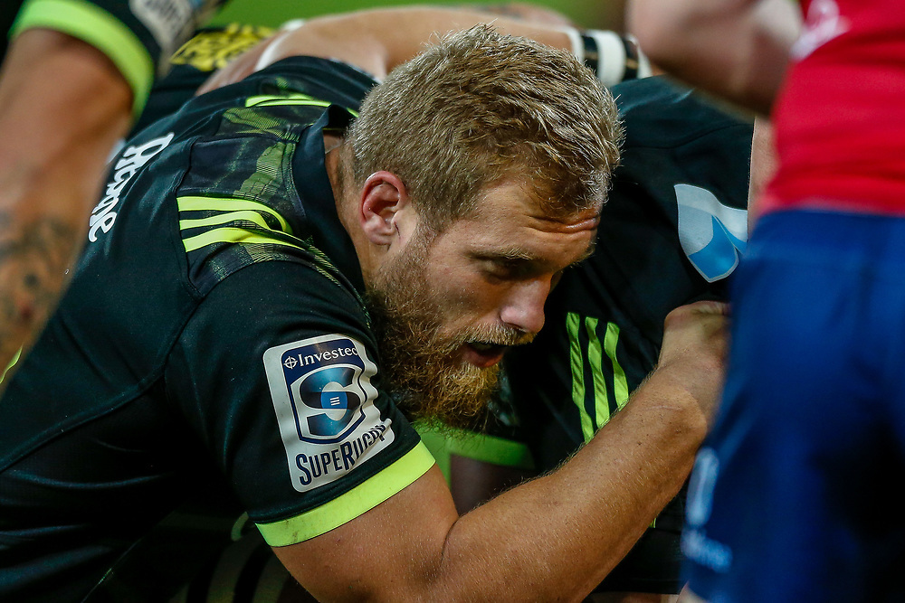 Brad Shields at the scrum during the Super rugby union game (Round 14) played between Hurricanes v Reds, on 18 May 2018, at Westpac Stadium, Wellington, New  Zealand.    Hurricanes won 38-34.