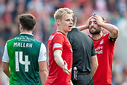 Gary Mackay-Steven (#11) of Aberdeen FC and Graeme Shinnie (#3) of Aberdeen FC appeal for a penalty during the Ladbrokes Scottish Premiership match between Hibernian and Aberdeen at Easter Road, Edinburgh, Scotland on 25 August 2018.