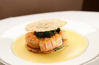l'Ambroisie, Chef Bernard Pacaud, Place des Vosges, Paris..l'Ambroisie is a Michelin three star restaurant...Feuillantine de queues de langoustines aux graines de sésame, sauce curry. ..............