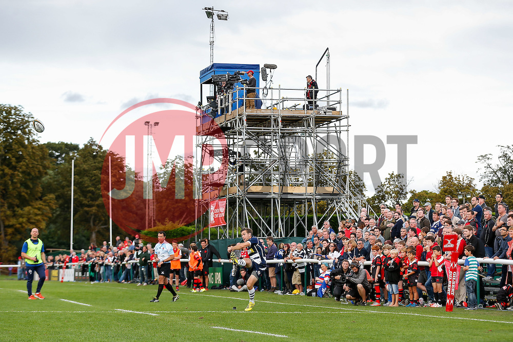 Bristol Rugby replacement Adrian Jarvis kicks a conversion - Mandatory byline: Rogan Thomson/JMP - 07966 386802 - 13/09/2015 - RUGBY UNION - Old Deer Park - Richmond, London, England - London Welsh v Bristol Rugby - Greene King IPA Championship.