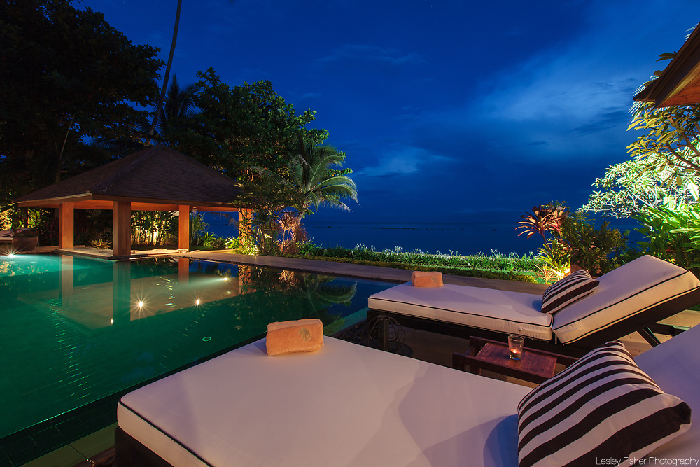 Swimming Pool at Baan Wanora, a luxury, private, beach front villa located in Laem Sor, Koh Samui, Thailand