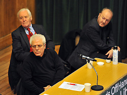 © Under licence to London News Pictures. 14/03/14 Tony Benn has died aged 88. FILE PICTURE: 30/03/2011. Sami Ramadani, Tony Benn and George Galloway at a 'Hands Off Libya' rally organised by the Stop The War Coalition, at Conway Hall in central London on March 30th 2011. Picture credit should read:  Blake-Ezra Cole/London News Pictures.