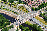 Nederland, Noord-Holland, Amsterdam-Noord, 29-06-2018; Buikslotermeer, verkeersplein/viaduct het Meeuwenei en Station Noorderpark van de Noord/Zuidlijn.<br /> North Park Station w environment, new subway /underground. <br /> luchtfoto (toeslag op standard tarieven);<br /> aerial photo (additional fee required);<br /> copyright foto/photo Siebe Swart