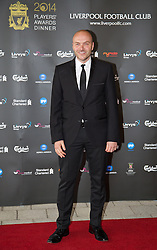 LIVERPOOL, ENGLAND - Tuesday, May 6, 2014: Chef Simon Rimmer arrives on the red carpet for the Liverpool FC Players' Awards Dinner 2014 at the Liverpool Arena. (Pic by David Rawcliffe/Propaganda)