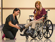 Nursing students work on a project at Reagan High School, September 16, 2014.
