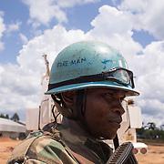 A peacekeeper in the military base of Eringeti.